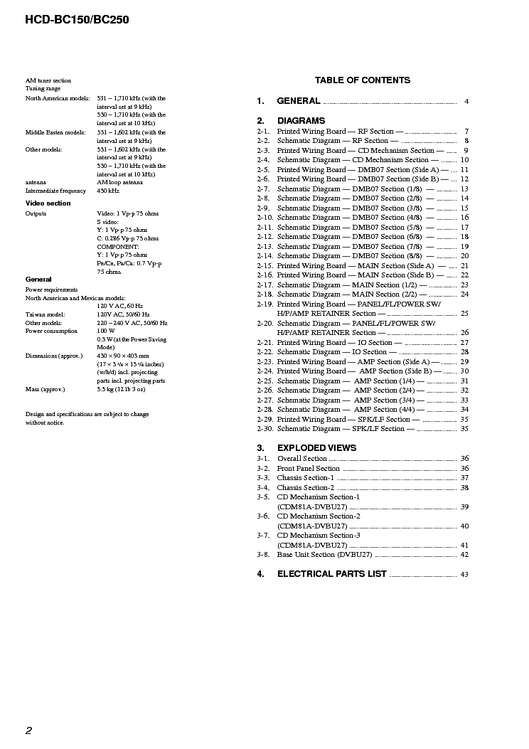 SONY HCD-BC150 BC250 VER1.2 Service Manual download