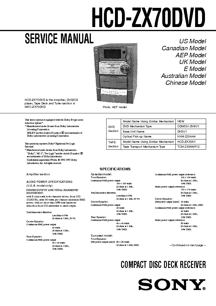 SONY HCD-ZX70DVD Service Manual download, schematics