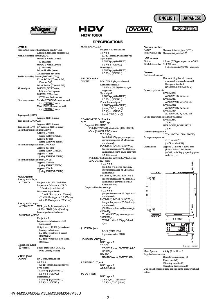 SONY HVR-M35 VER1.1 Service Manual download, schematics