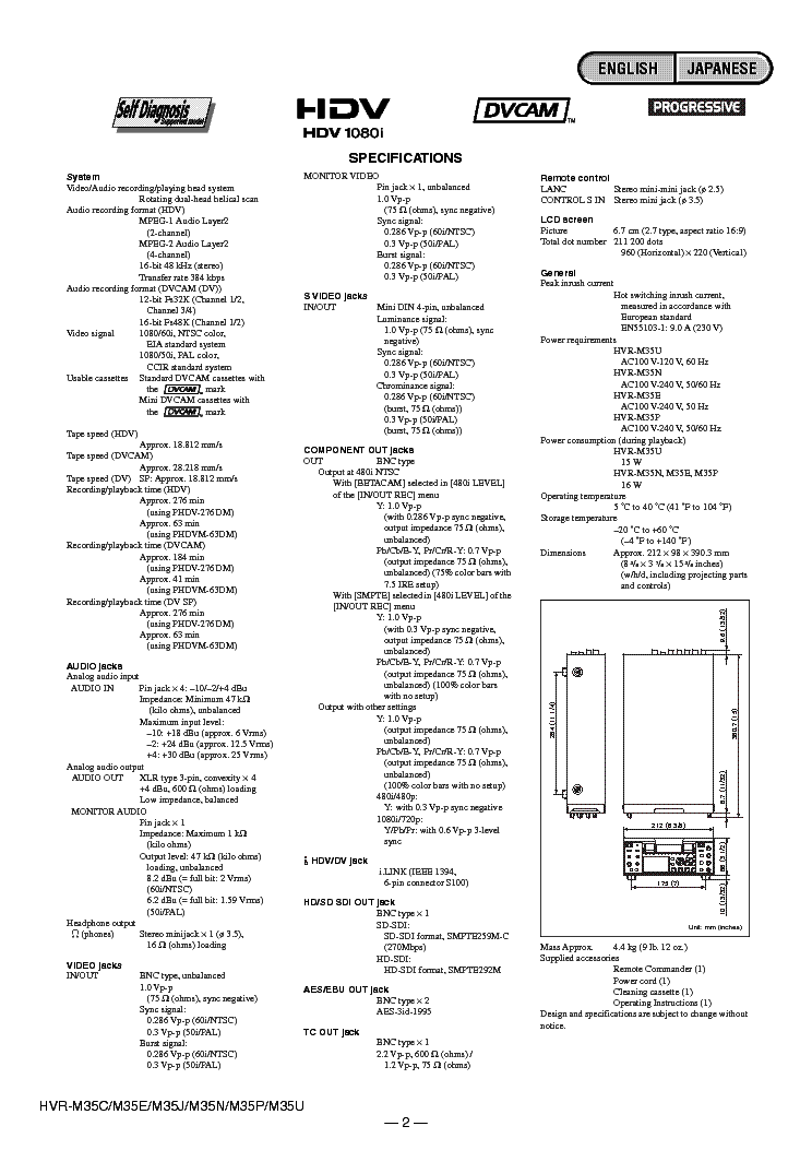 SONY HVR-M35 VER1.4 Service Manual download, schematics