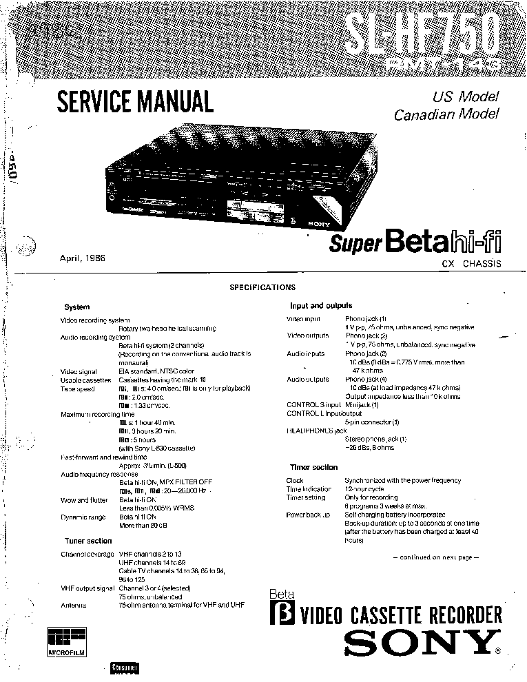SONY SL-HF750 Service Manual download, schematics, eeprom