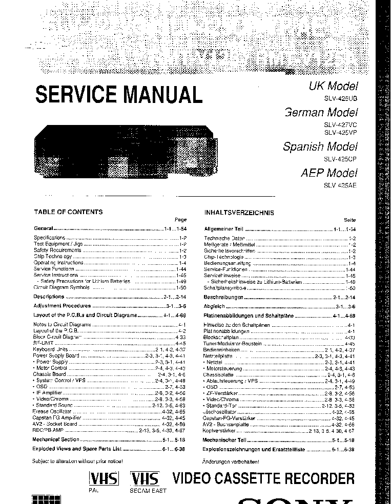 SONY SLV-425 427 RMT-V125 Service Manual download