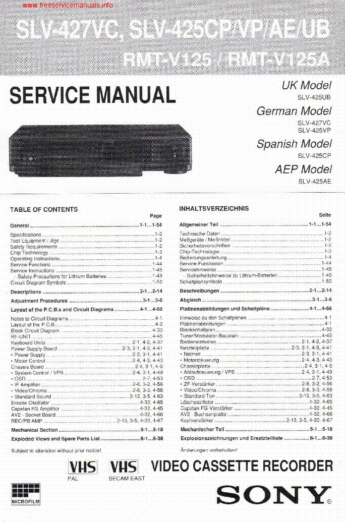 SONY SLV-226EE X37DH X37ME X37PS SM Service Manual
