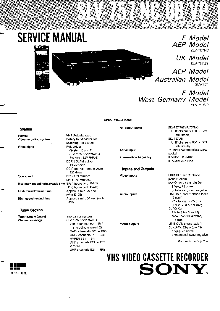SONY SLV-757 Service Manual download, schematics, eeprom