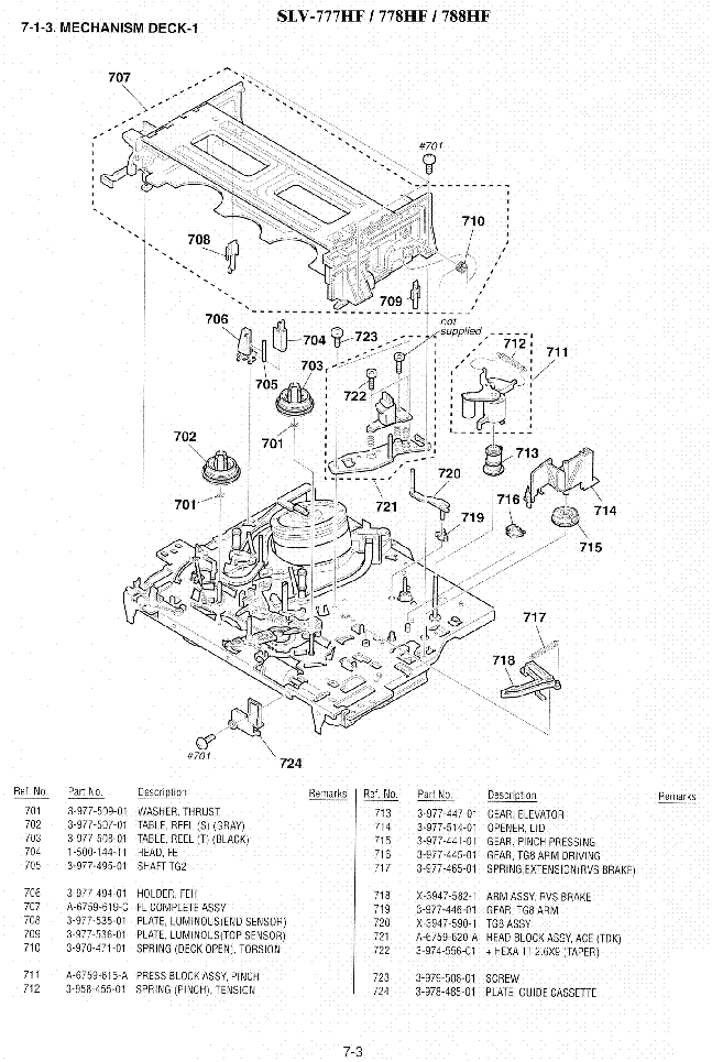 SONY SLV-777 778 MECHANISM Service Manual download
