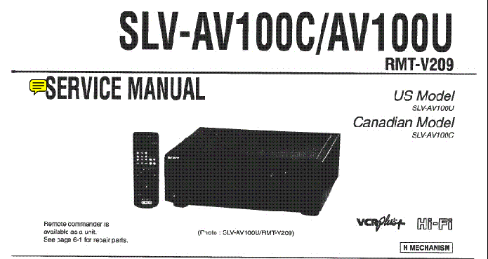 SONY SLV-E7 SLV-ER7 SLV-E8 Service Manual download