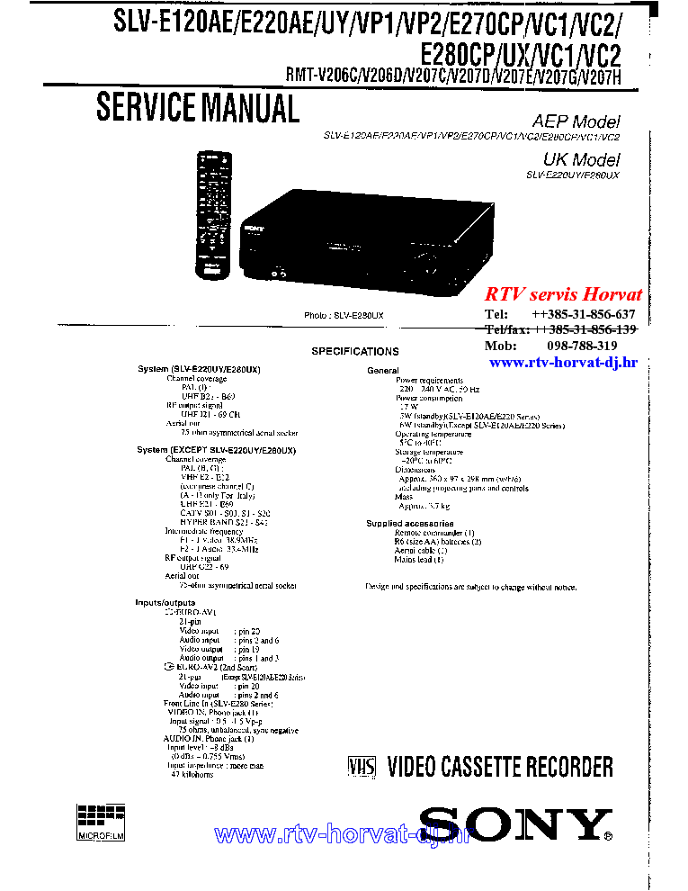 SONY DSR-25 SM Service Manual free download, schematics