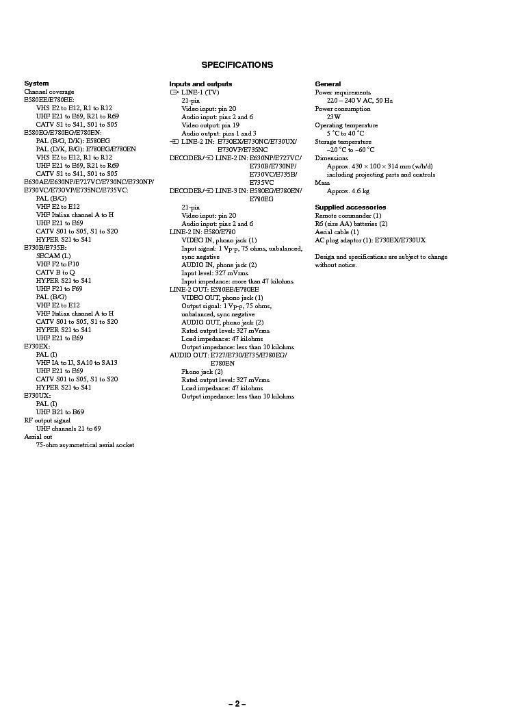 SONY SLV-E580 E630 E727 E730 E735 E780 SM Service Manual