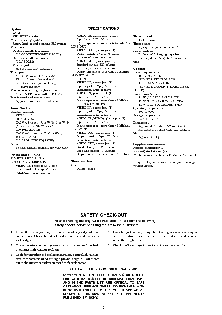 SONY SLV-ED212 ED717 ED818 ED919 LF1 SM Service Manual