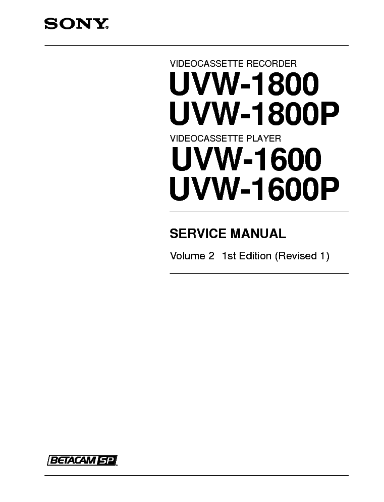 SONY UVW-1600 P UVW-1800 P Service Manual download