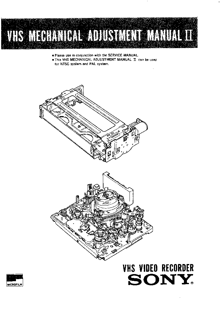 SONY VCR MECHANISM ADJUSTMENT MANUAL Service Manual