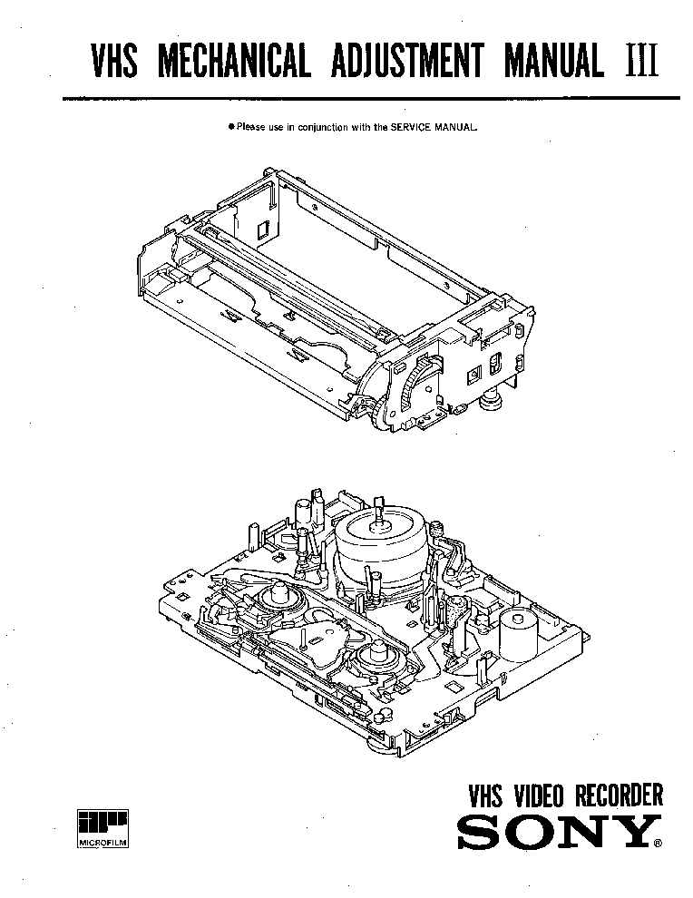 SONY VHS III-MECHANISM Service Manual download, schematics
