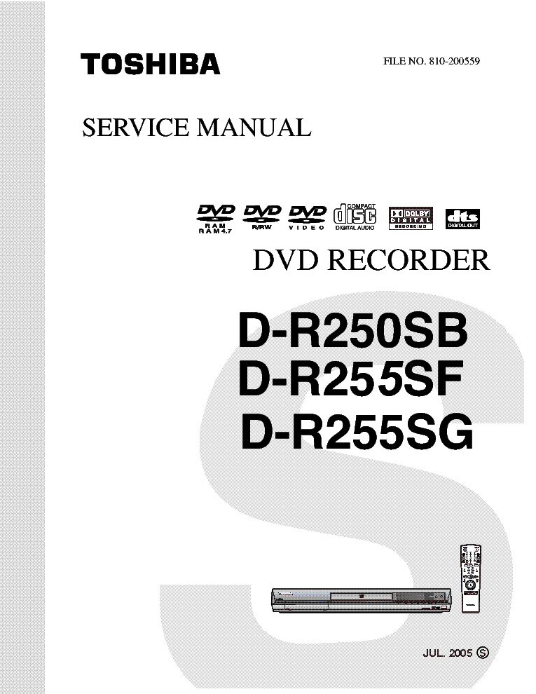 TOSHIBA D-R250SB-D-R255SF Service Manual download