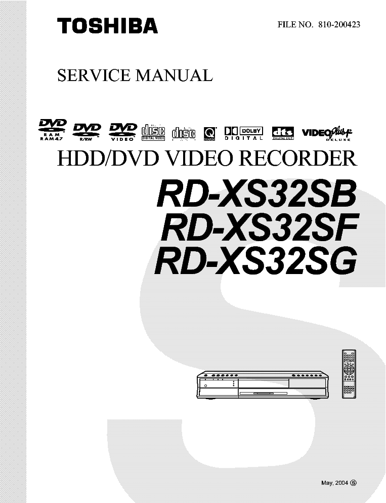 TOSHIBA RD-XS32SB SF SG SM Service Manual download