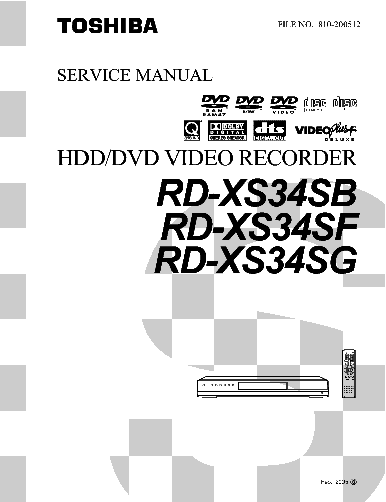 TOSHIBA RD-XS34SB SF SG SCH Service Manual download
