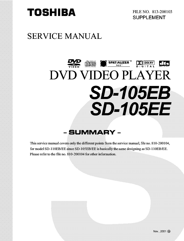 TOSHIBA SD-H400 SM Service Manual free download