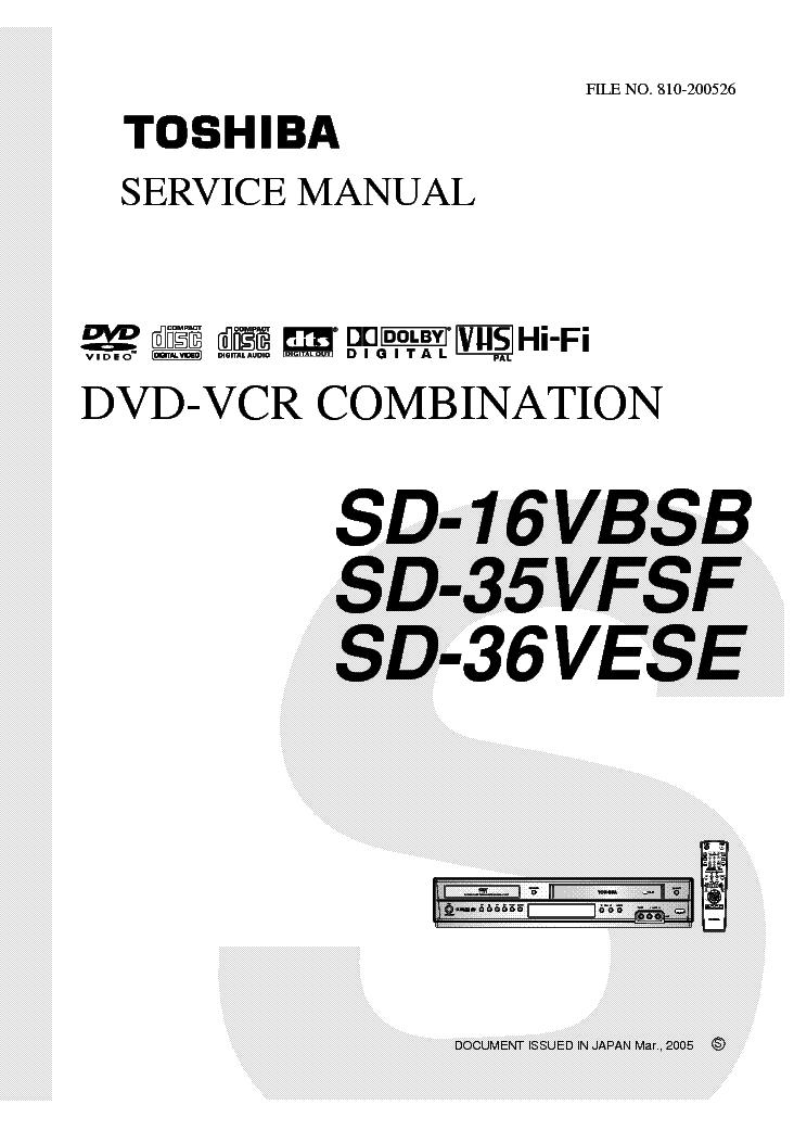 TOSHIBA SD-16VBSB 35VFSF 36VESE SM 1 Service Manual
