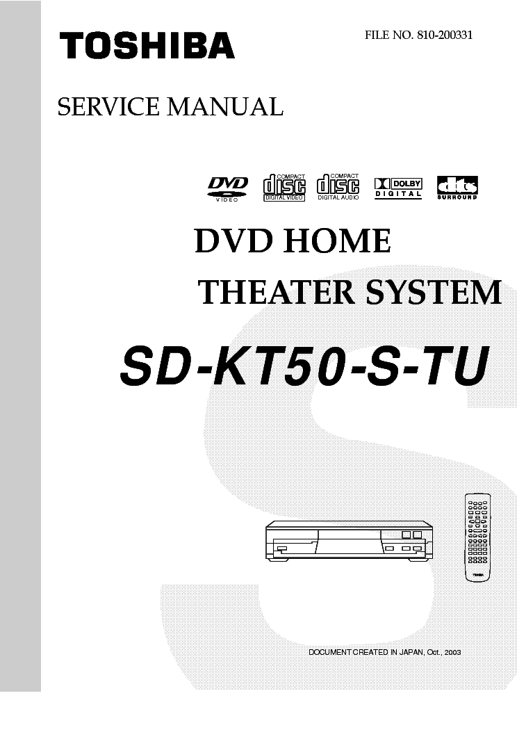 TOSHIBA SD-KT50-S-TU Service Manual download, schematics