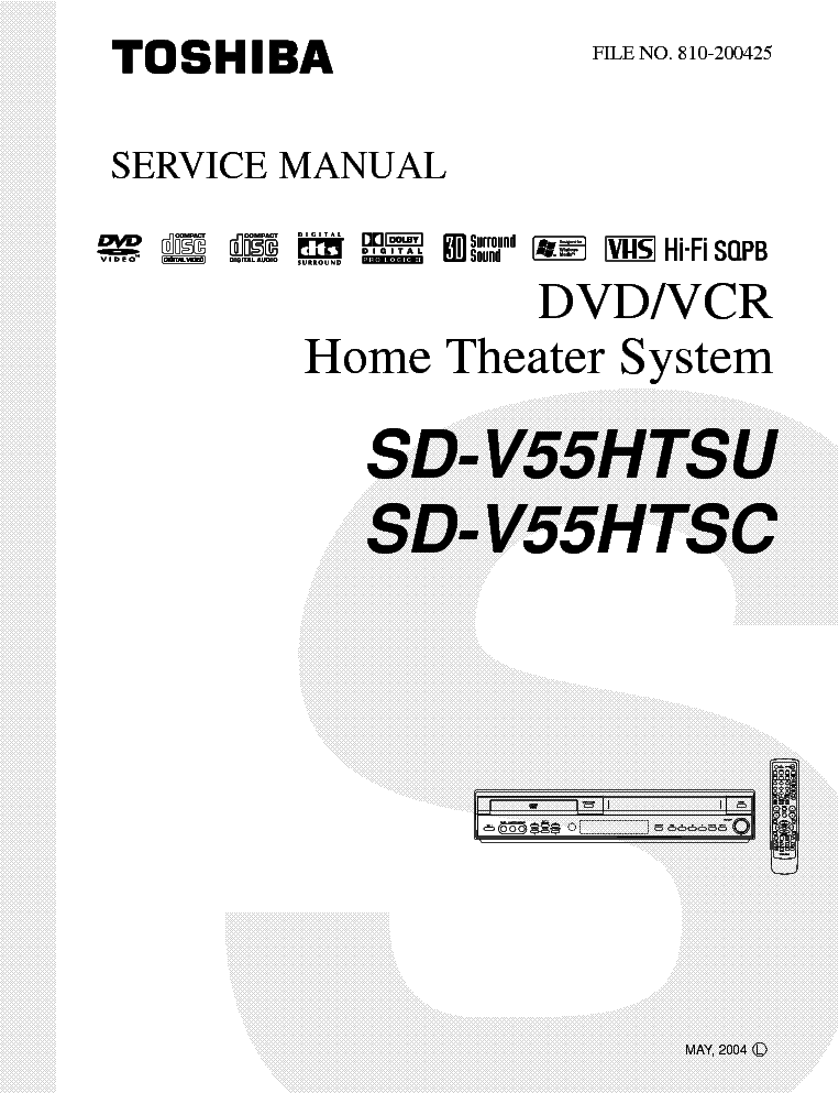 TOSHIBA SD-V55HT Service Manual download, schematics