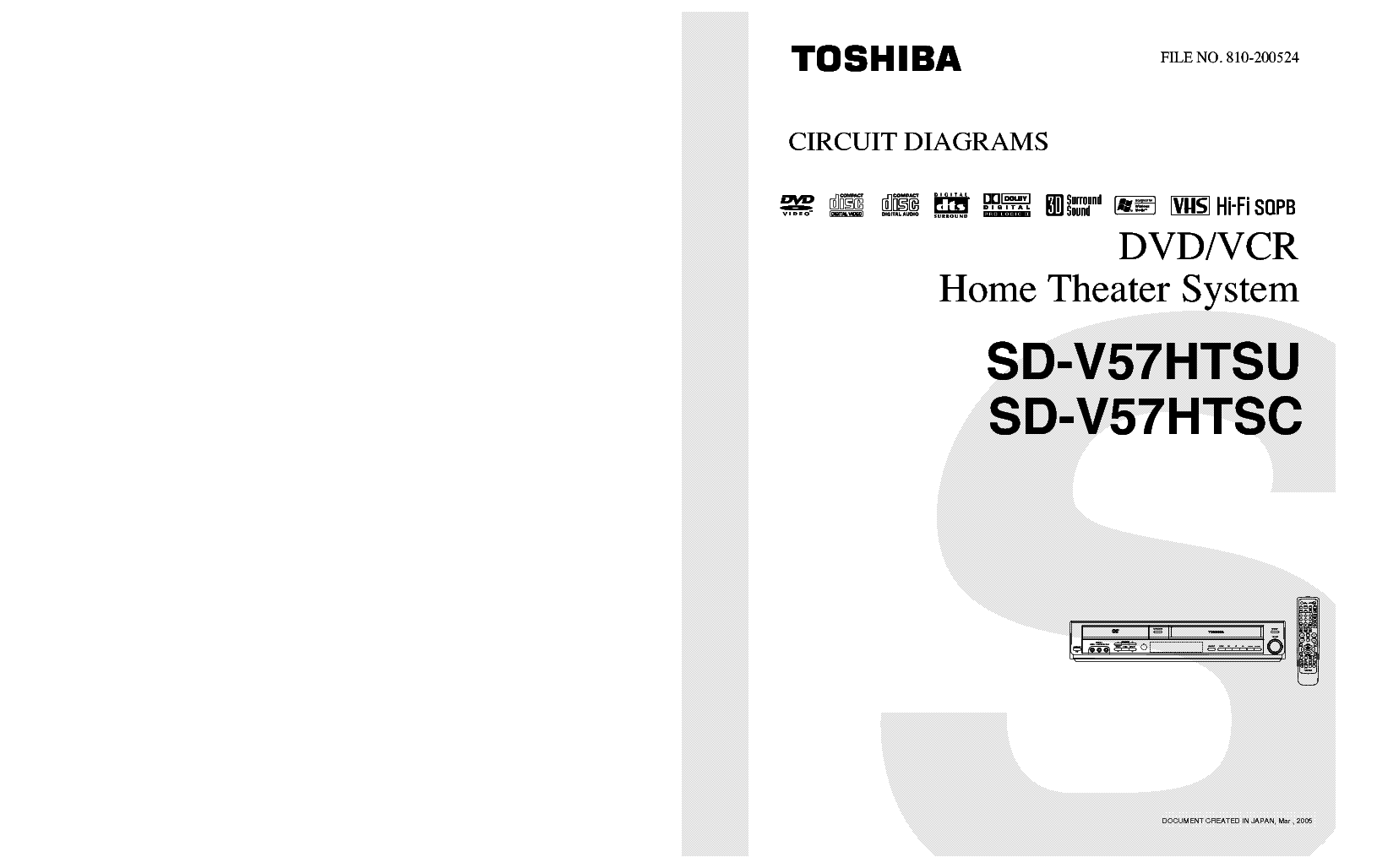 TOSHIBA SD-V57HTSU SD-V57HTSC Service Manual download