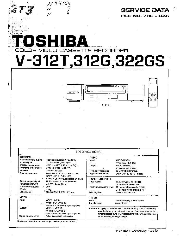 TOSHIBA V-312T V-312G V-322GS Service Manual free download
