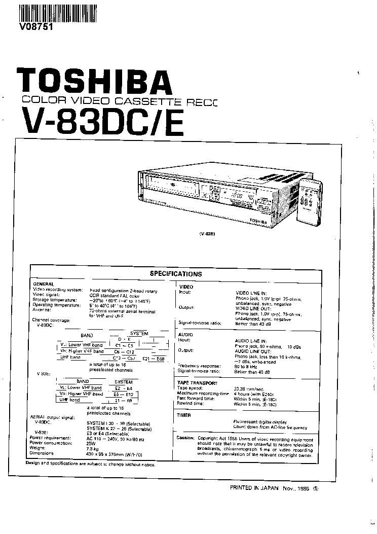 TOSHIBA V-83DC-E SM Service Manual download, schematics