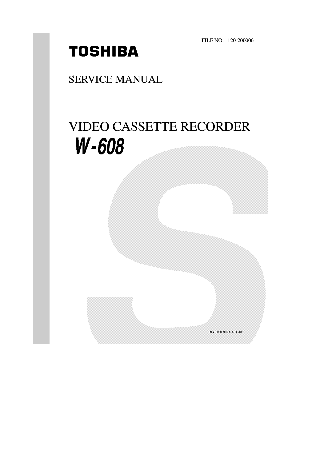 TOSHIBA W608 Service Manual download, schematics, eeprom