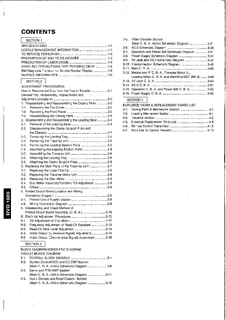 YAMAHA DVD-1000 Service Manual download, schematics