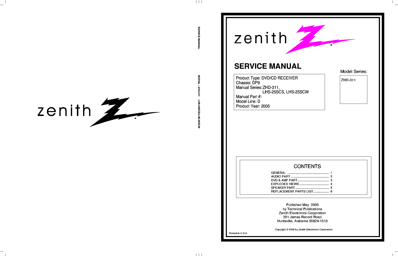 ZENITH ZHD-311 Service Manual download, schematics, eeprom