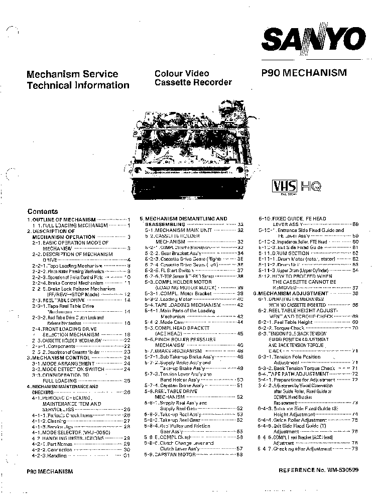 SANYO P90 VCR MECHANISM TECHNICAL MANUAL Service Manual