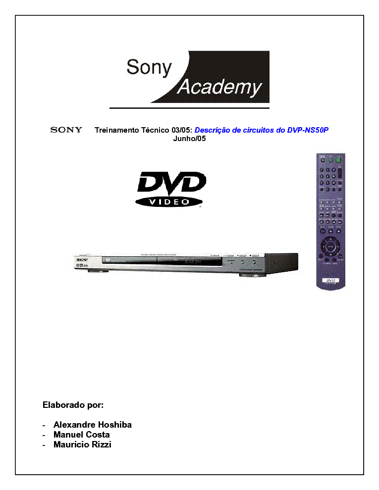 SONY DVD-A0503 DVP-NS325 TRAINING MANUAL Service Manual