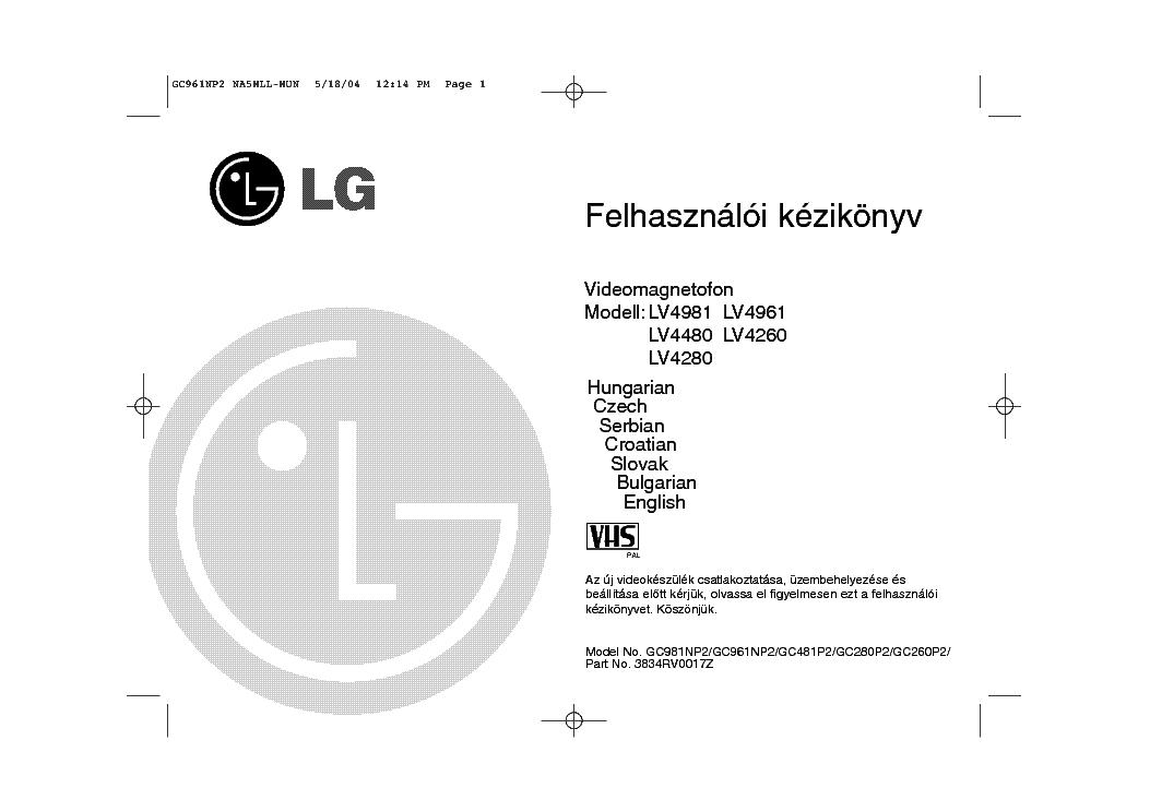 LG LV4981 LV4480 LV4280 LV4961 LV4260 USERMANUAL HUN