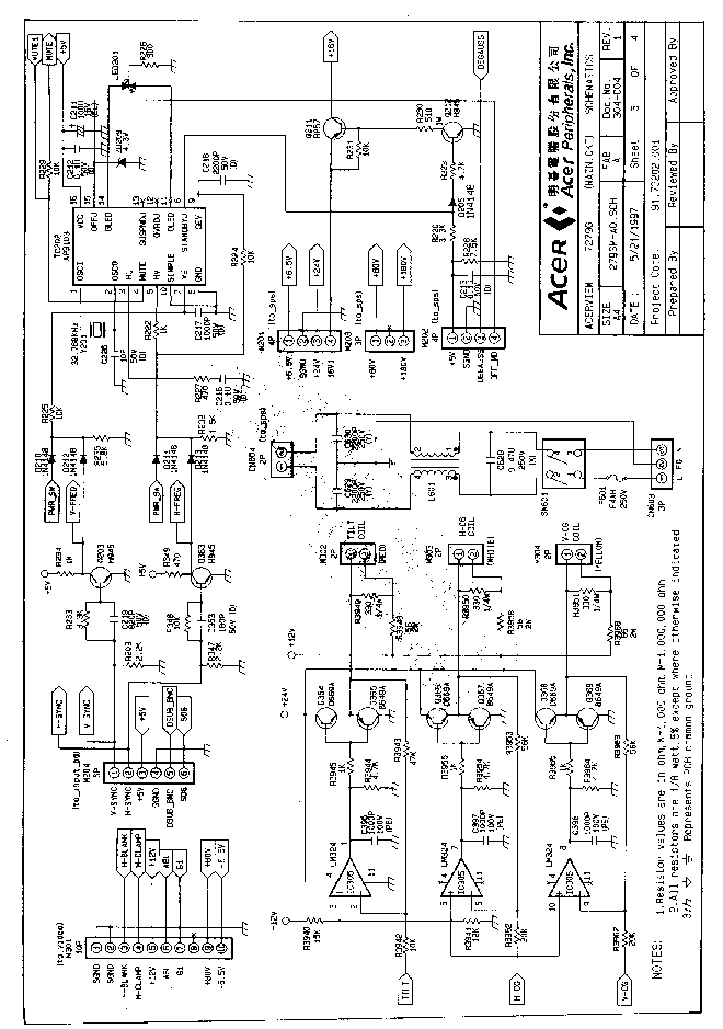 ACER X213H X223HQ SCH Service Manual download, schematics, eeprom, repair info for electronics