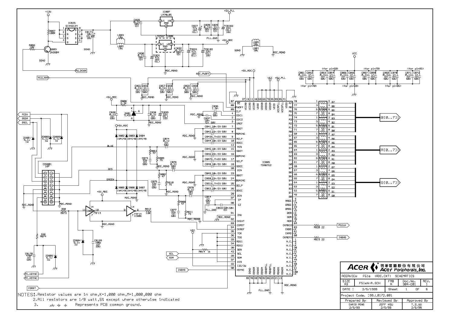 ACER AL1711 Service Manual download, schematics, eeprom