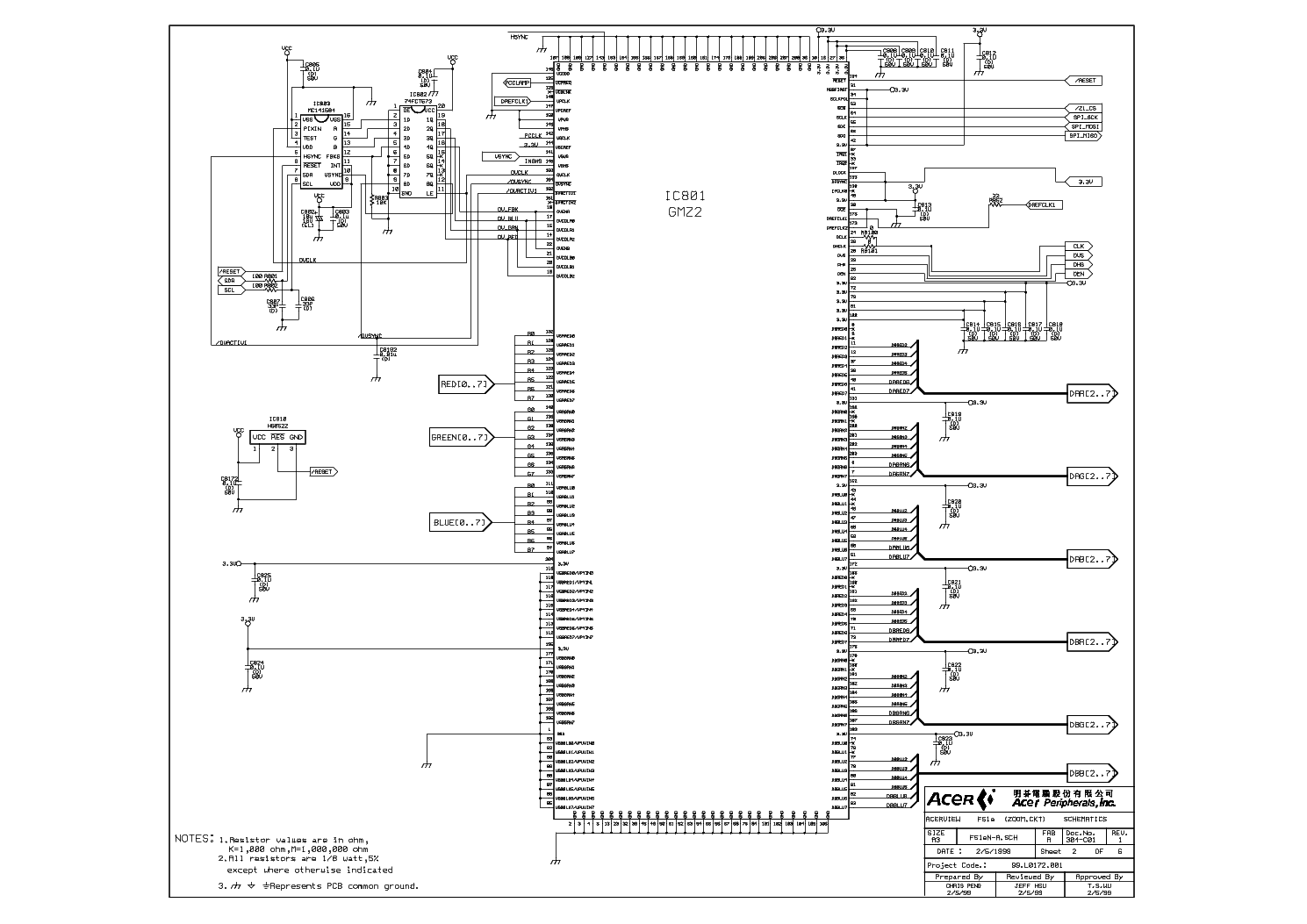 ACER ACERVIEW F51E SCH Service Manual download, schematics, eeprom, repair info for electronics