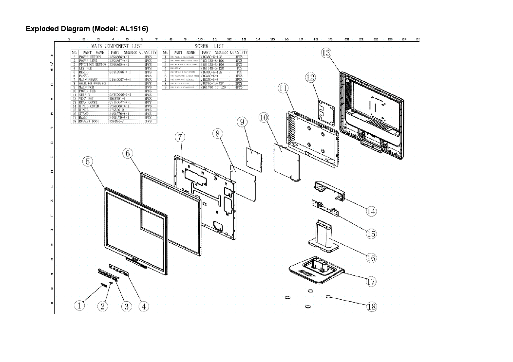 ACER AL1516V Service Manual download, schematics, eeprom