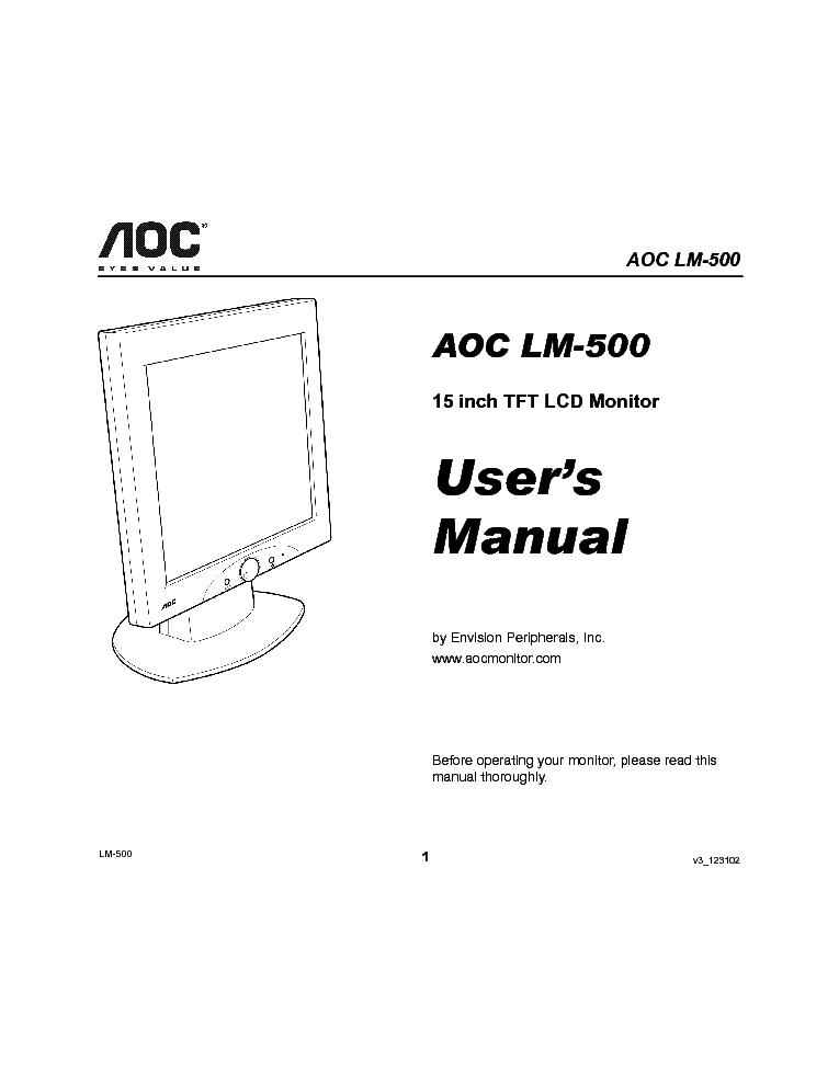 AOC LM500 USER MAN Service Manual download, schematics