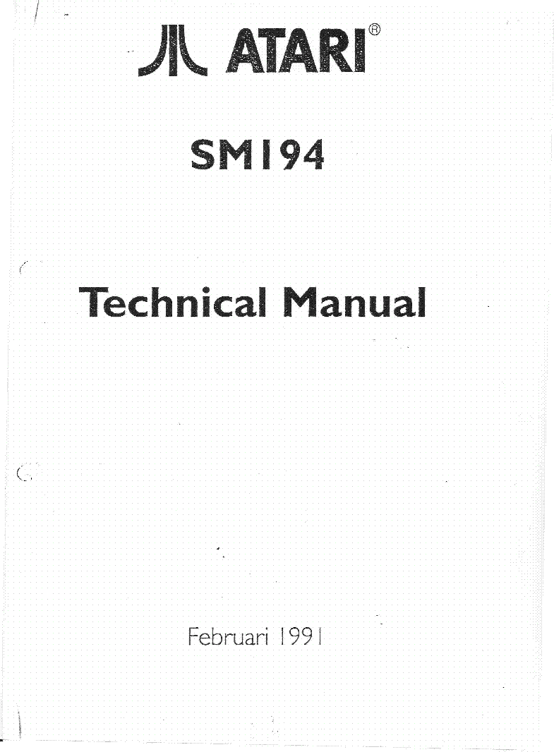 ATARI SM194 TECHNICAL MANUAL 1991 Service Manual download