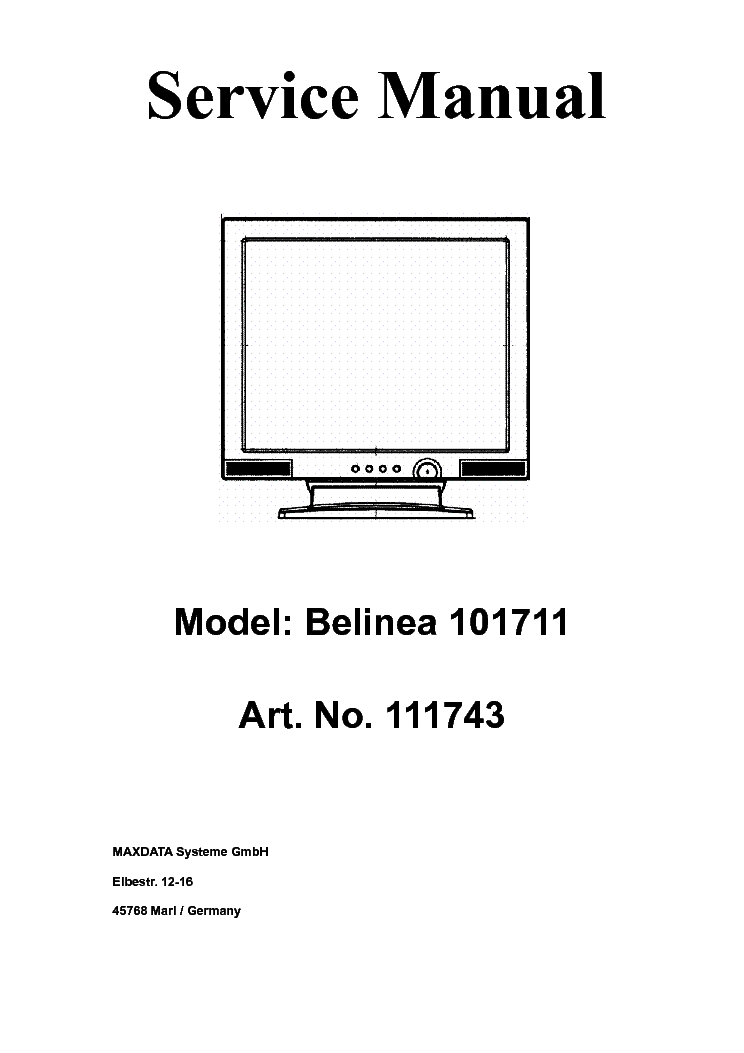 BELINEA 101711 111743 LCD MONITOR Service Manual download