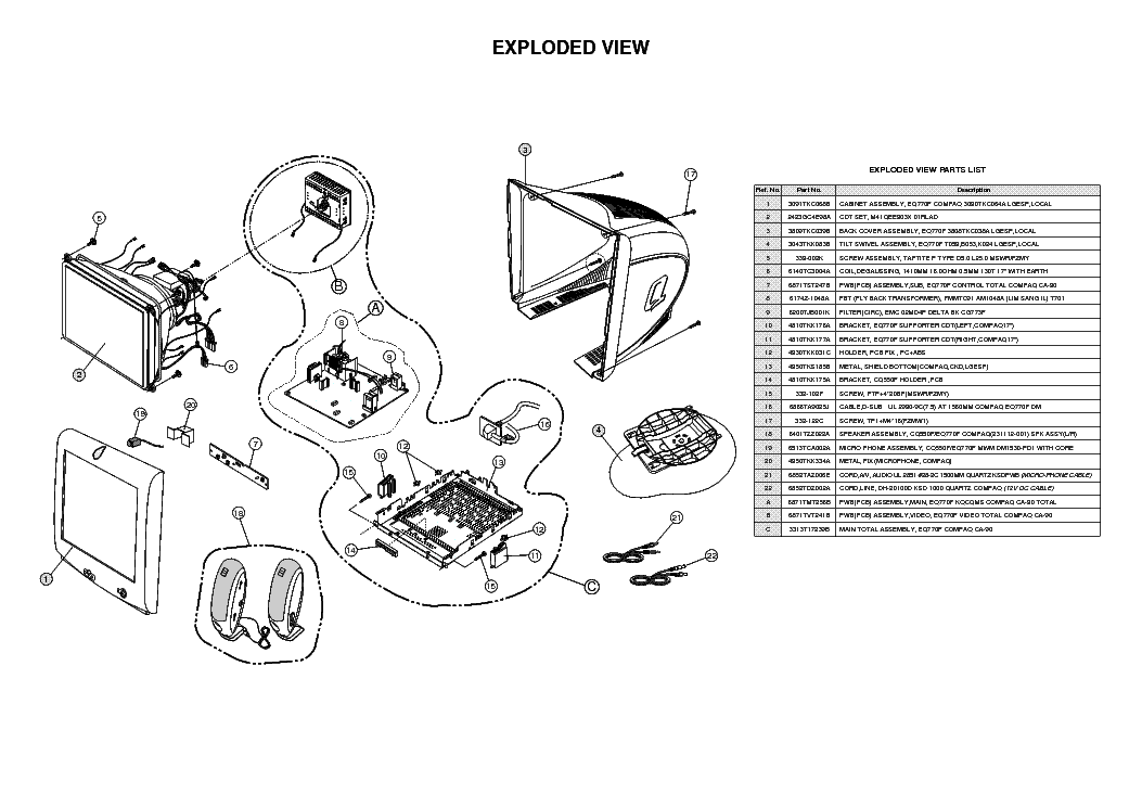 COMPAQ FS740 SM Service Manual download, schematics