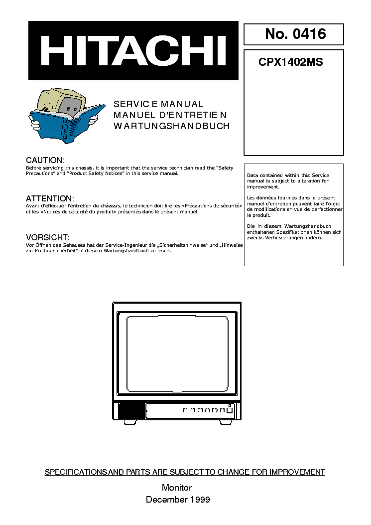 HITACHI CPX1402MS Service Manual download, schematics