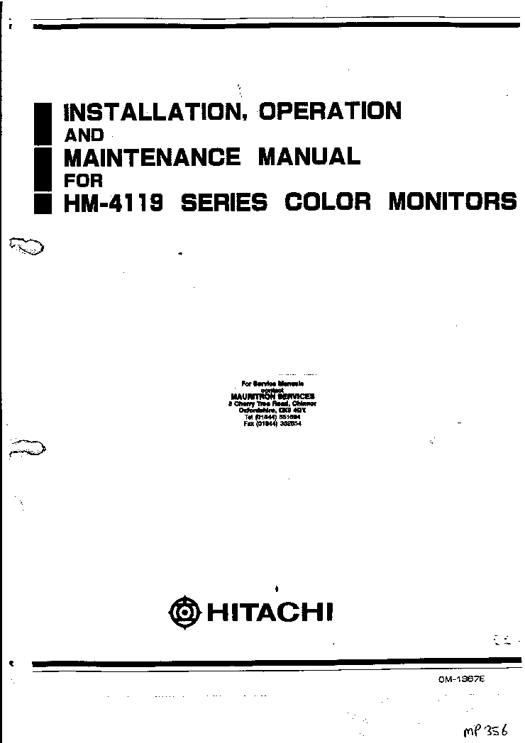HITACHI HM-4119 Service Manual download, schematics