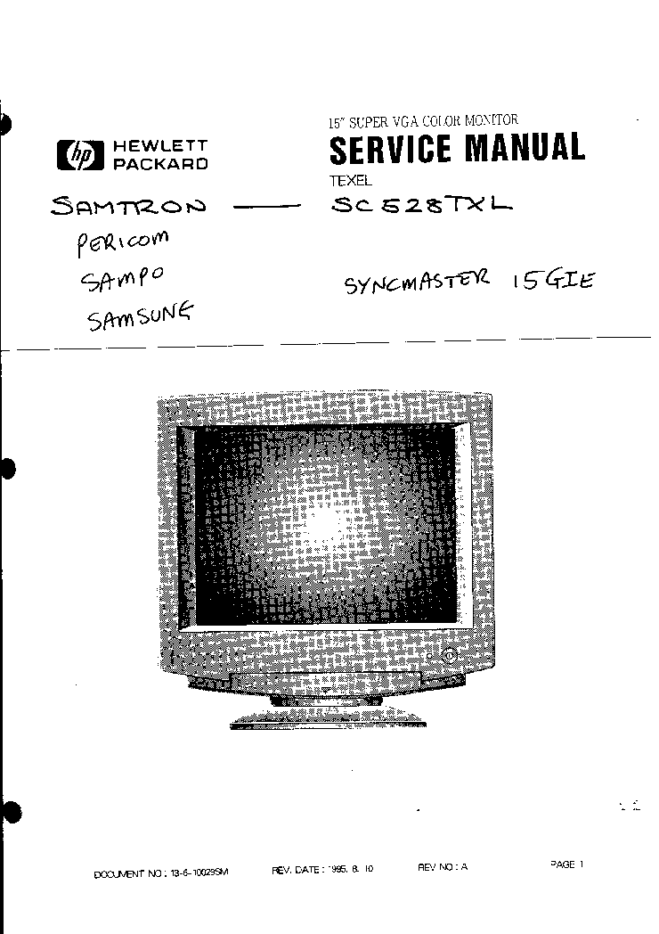 HP AOC L1906 GM2621 SM Service Manual download, schematics