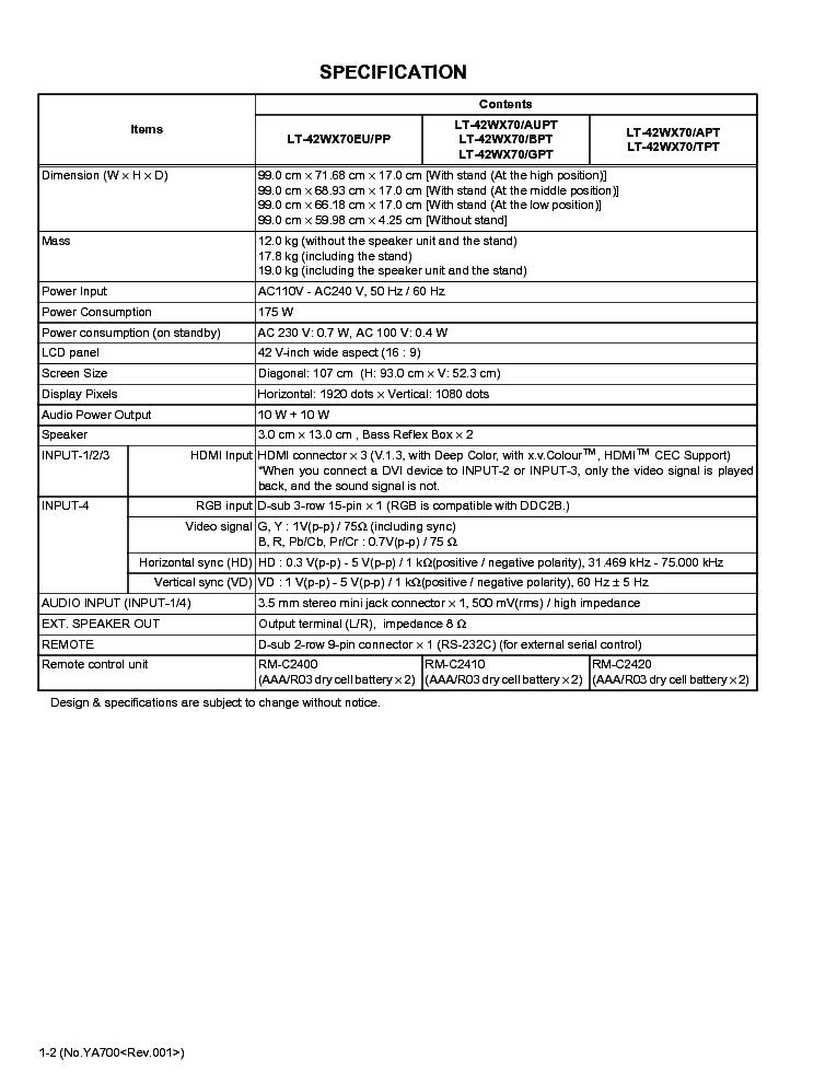 JVC LT-42WX70 XXX CHASSIS MX7 Service Manual download