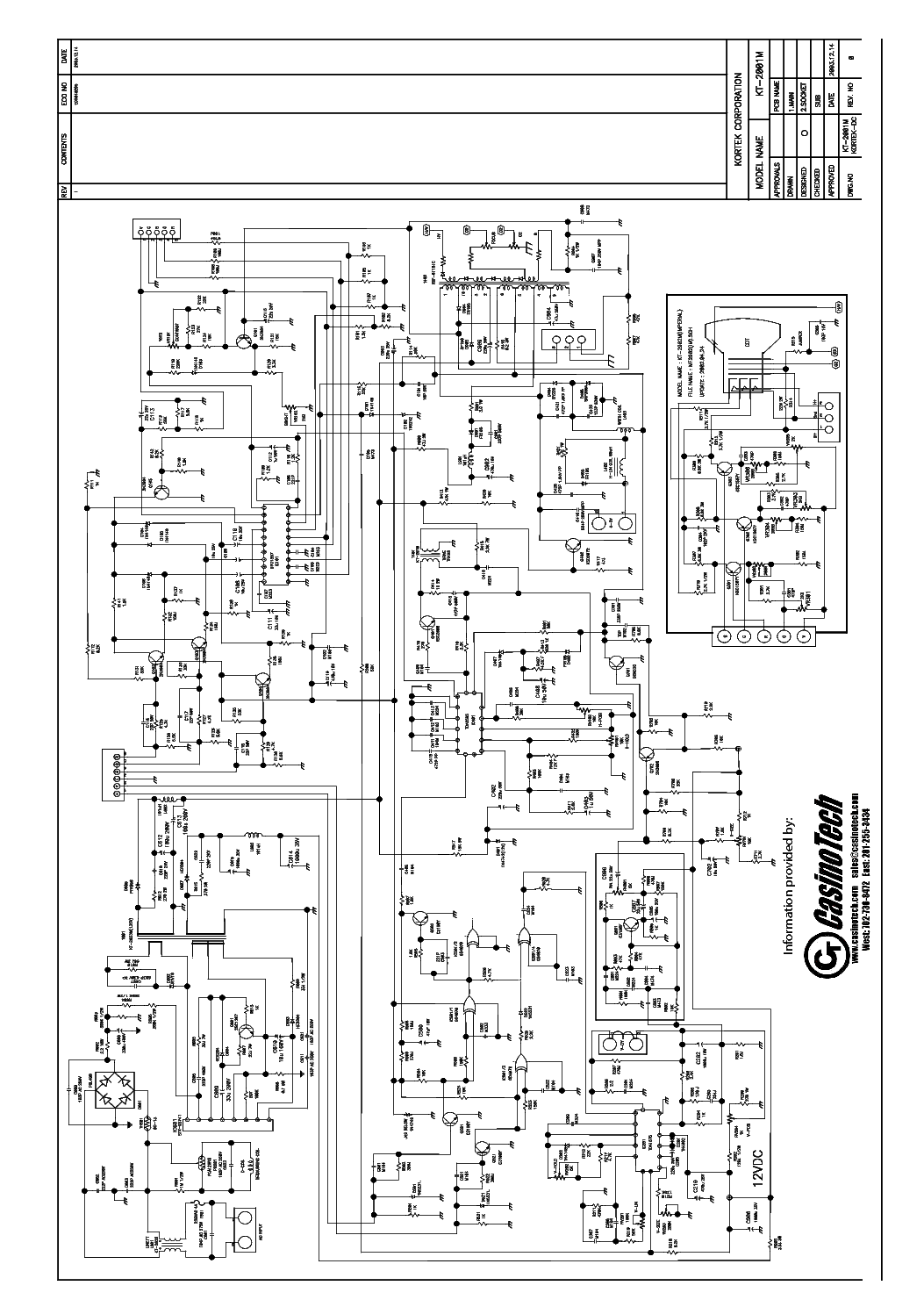 KORTEK KT2001M Service Manual download, schematics, eeprom
