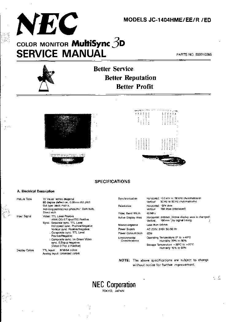 NEC-A1 JC1404 Service Manual download, schematics, eeprom