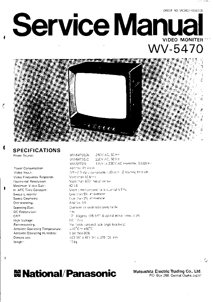 PANASONIC WV-5470 CCTV MONITOR Service Manual download