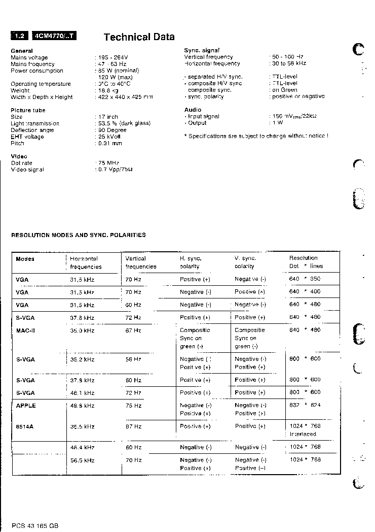 PHILIPS 4CM-4770 Service Manual download, schematics