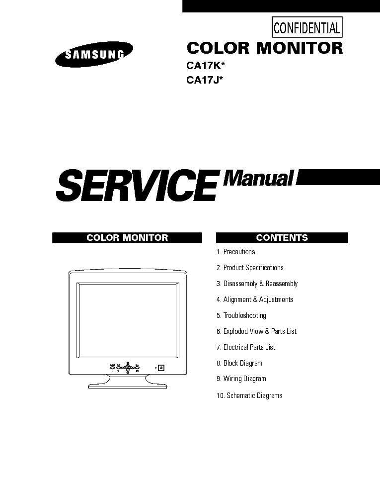 SAMSUNG CA17KX 17JX CRT MONITOR Service Manual download