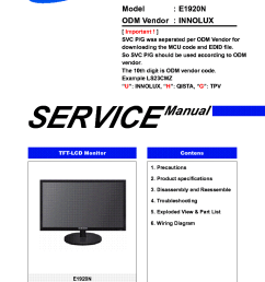 samsung ls19clysbuen e1920n lcd monitor service manual 1st page  [ 765 x 1074 Pixel ]